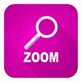 zoom violet flat icon, christmas button