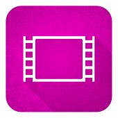 movie violet flat icon, christmas button