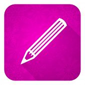 pencil violet flat icon, christmas button