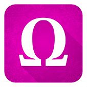 omega violet flat icon, christmas button