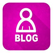 blog violet flat icon, christmas button
