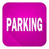 parking violet flat icon, christmas button