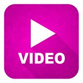video violet flat icon, christmas button