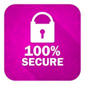 secure violet flat icon, christmas button