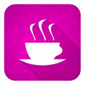 espresso violet flat icon, christmas button, hot cup of caffee sign