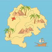 Hand Drawn Vector Illustration - Treasure Map And Design Elements (mountains,   Palm, Ship, Sea Etc.