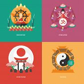 Set of flat design concept icons for religions and confessions. Icons for buddhism, hinduism, shinto