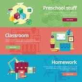 Set of flat design concepts for preschool, classroom and homework. Education concepts for web banner