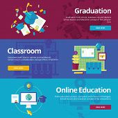 Set of flat design concepts for graduation, classroom, online education. Education concepts for web