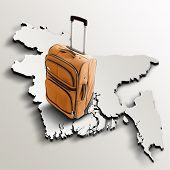 Travel To Bangladesh. Orange Suitcase On 3D Map Of The Country