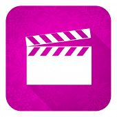 video violet flat icon, christmas button, cinema sign