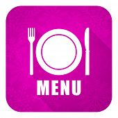 menu violet flat icon, christmas button, restaurant sign