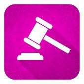 auction violet flat icon, christmas button, court sign, verdict symbol