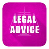 legal advice violet flat icon, christmas button, law sign