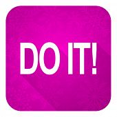 do it violet flat icon, christmas button