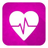 pulse violet flat icon, christmas button, heart rate sign