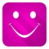 smile violet flat icon, christmas button