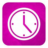 time violet flat icon, christmas button, watch sign