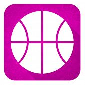 ball violet flat icon, christmas button, basketball sign