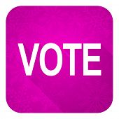 vote violet flat icon, christmas button