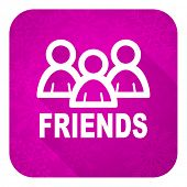 friends violet flat icon, christmas button