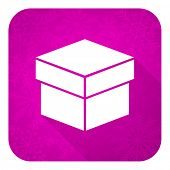 box violet flat icon, christmas button