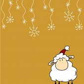 Greeting card with funny little sheep in Santa's hat