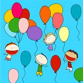 Child's drawing of happy funny friends with colorful balloons, enjoying their flight high in the sky