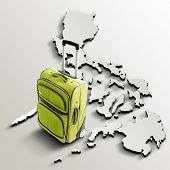 Travel To Philippines. Green Suitcase On 3D Map Of The Country