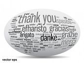 Vector concept or conceptual 3D oval or ellipse abstract thank you word cloud in different languages or multilingual for education or Thanksgiving Day