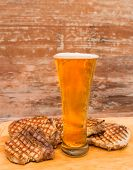 Roasted pork steaks with beer