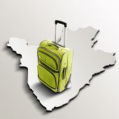 Travel To Burundi. Green Suitcase On 3D Map Of The Country