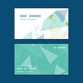 Vector abstract fabric triangles horizontal corner frame pattern business cards set