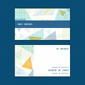 Vector abstract fabric triangles horizontal stripe frame pattern business cards set