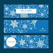 Vector falling snowflakes horizontal banners set pattern background