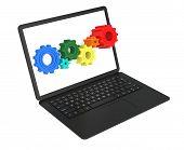 Gear Wheels In Black Laptop