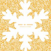 Vector golden lace roses Christmas snowflake silhouette pattern frame card template