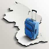 Travel To Guyana. Blue Suitcase On 3D Map Of The Country