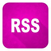 rss violet flat icon, christmas button