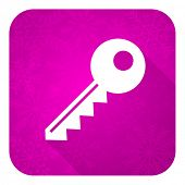 key violet flat icon, christmas button