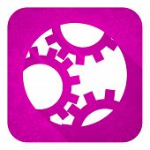 gear violet flat icon, christmas button, settings sign