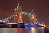 Tower bridge in London UK by night
