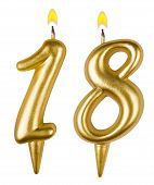 Birthday Candles Number Eighteen Isolated