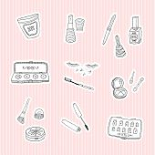 Set a stickers of beauty and cosmetics icons doodles