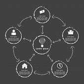 Elements Of Success, Infographic Black And White Style Template