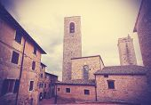 Retro Vintage Stylized Picture Of San Gimignano, Italy.