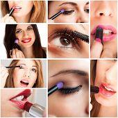 Details of women applying make-up
