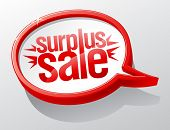Surplus sale red speech bubble symbol.