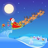 Santa Claus riding sleigh pulled by reindeer