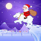Santa Claus riding on polar bear with Christmas bag